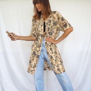 VINTAGE FLORAL BUTTONED DRESS / OVERSHIRT